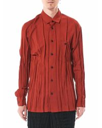 Issey Miyake | Red Pleated Button-up Shirt for Men | Lyst