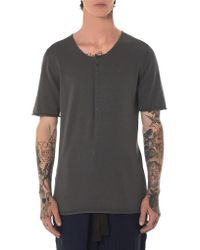 Label Under Construction Gray Punched Henley Tee for men