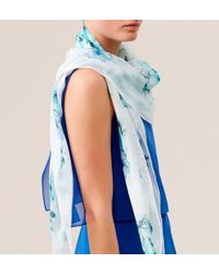 Hobbs - Blue Anemone Square Scarf - Lyst