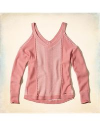 Hollister - Pink V-neck Cold Shoulder Sweater - Lyst