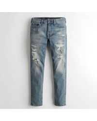 Hollister Blue Guys Extreme Stretch Skinny Jeans From Hollister for men
