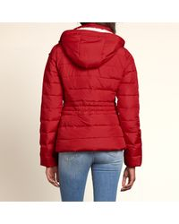 Hollister - Red Sherpa Lined Puffer Jacket - Lyst