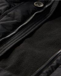 Hollister - Black Channel Quilted Parka for Men - Lyst