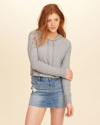 Hollister | Gray Hooded Crop T-shirt | Lyst
