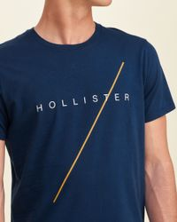 Hollister - Blue Logo Graphic Tee for Men - Lyst