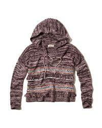 Hollister - Multicolor Lace-up Fringe Baja Sweater - Lyst
