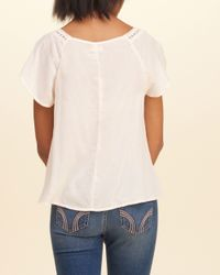 Hollister - Multicolor Flutter-sleeve Lace-up Top - Lyst