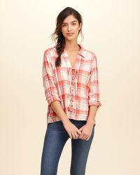 Hollister - Multicolor Lace-up Plaid Shirt - Lyst