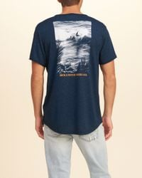 Hollister - Blue Easy Fit Graphic Tee for Men - Lyst