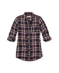 Hollister - Blue Plaid Tunic Shirt - Lyst