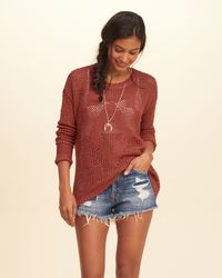 Hollister - Orange Open-stitch Pullover Sweater - Lyst