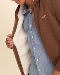 Hollister - Brown Textured Sherpa Lined Hoodie for Men - Lyst