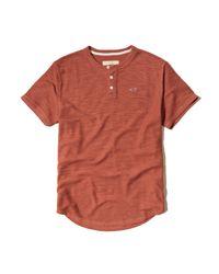 Hollister - Orange Textured Boucle Henley for Men - Lyst