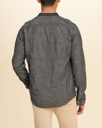 Hollister - Gray Banded Collar Chambray Shirt for Men - Lyst