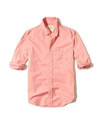 Hollister | Pink Stretch Poplin Shirt for Men | Lyst