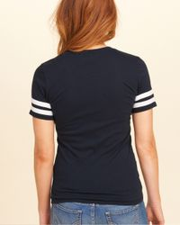 Hollister - Blue Applique Logo Graphic Tee - Lyst