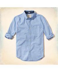 Hollister - Blue Stretch Oxford Shirt for Men - Lyst