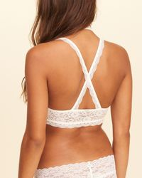 Hollister - White Strappy Lace Bralette With Removable Pads - Lyst
