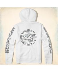 sports shoes 85324 4c519 Lyst - Hollister Guys Logo Graphic Hoodie From Hollister in White ...