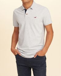 Hollister | Gray Stretch Pique Icon Polo for Men | Lyst