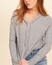 Hollister - Gray Hooded Crop T-shirt - Lyst