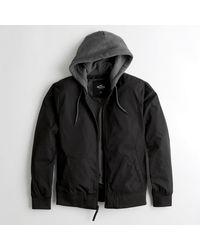 Hollister Black Guys Hooded Bomber Jacket From Hollister for men