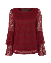 Vero Moda - Red Long Sleeve Round Neck Jumper With Tie Sleeve - Lyst