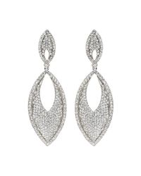 Mikey - White Large Eclipse Studded Drop Earring - Lyst