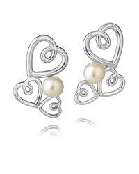 Jersey Pearl | Metallic Silver Triple Heart Studs Earrings | Lyst