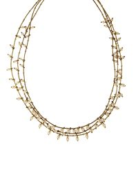 Anne Klein - Metallic Three Row Gold And Pearl Necklace - Lyst
