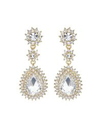 Mikey | Metallic Oval Stone Spikey Surround Drop Earring | Lyst