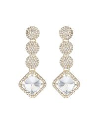 Mikey - Metallic Multi Round Crystal Drops Earring - Lyst