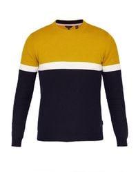 Ted Baker - Yellow Men's Spears Colour-block Cotton Jumper for Men - Lyst