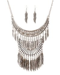 Ruby Rocks | Metallic Silver Leaf Drop Necklace | Lyst