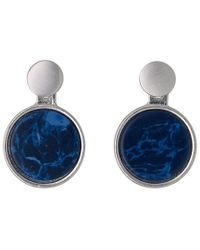 Pilgrim - Blue And Silver Plated 2 In 1 Earrings - Lyst