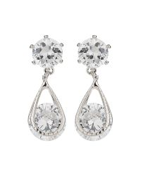 Mikey | White Crystal Bead Dangling Drop Earring | Lyst
