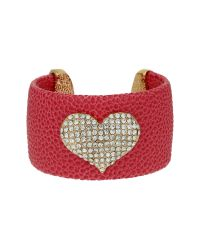 Mikey | Pink Heart On Leather Cuff | Lyst