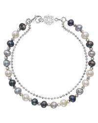 Dower & Hall | Metallic Silver And Mix Pearl Orissa Bracelet | Lyst