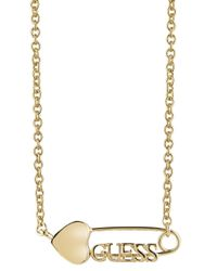 Guess | Multicolor Pin-up Ubn83118 Safety Pin Necklace | Lyst