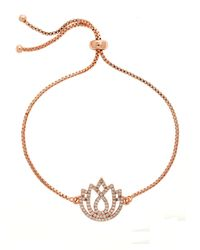 Melissa Odabash | Metallic Rose Gold Lotus Crystal Slider Bracelet | Lyst