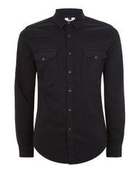Topman | Men's Black Stretch Western Shirt for Men | Lyst