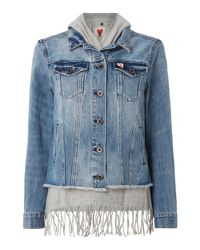 Maison Scotch - Blue Denim Jacket With Fringe Detail - Lyst