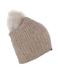 Ugg - Natural Beanie With Fur Pom - Lyst