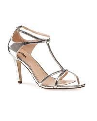Paradox London Pink | Metallic Peyton Strappy T-bar Sandals | Lyst