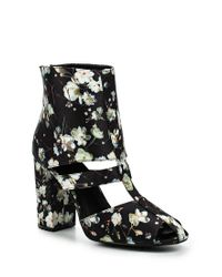 Lost Ink - Black Denny Floral Block Heel Ankle Boots - Lyst