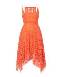 Free People - Orange Just Like Honey Lace Dress With Hankerchief Hem - Lyst