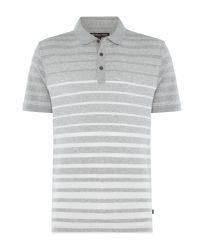 Michael Kors - Gray Stiped Short Sleeve Polo Shirt for Men - Lyst