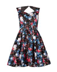 Izabel London - Blue Floral Fit-and-flare Dress - Lyst