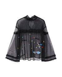 Mango | Black Embroidered Tulle Blouse | Lyst