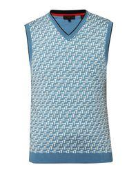 Ted Baker | Blue Tommas Jacquard Merino Wool Tank for Men | Lyst